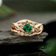 CXB2568 Handmade 100% Natural Emerald 1.20ct Size US 7 14K Yellow Gold ring