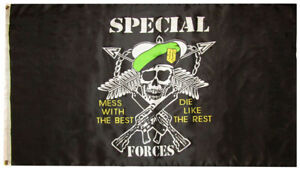 3x5 Special Forces Mess With The Best 3'x5' Premium 75D Polyester Flag (RUF)