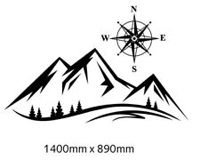 Large Mountain landscape with compass sticker decal for RV motorhome, Caravan,
