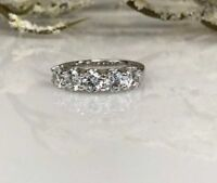 5 Stone Moissanite 3.00 Ct Wedding Anniversary Band Ring 14k White Gold GP