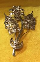 Vintage Antique Sterling Silver Filigree Floral Brooch Pin Fine Jewelry