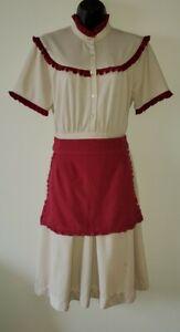 Vintage Waitress Uniform Dress Apron Younkers Tea Room Restaurant Halloween Med