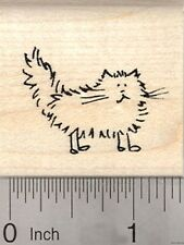 Longhaired Cat Rubber Stamp, Stick Figure Series D21226 WM