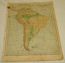 1899 Maury COLOR MAP/SOUTH AMERICA PHYSICAL MAP (Mountains, etc)