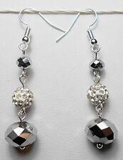 Dangle earrings - silver glass + disco beads, 55mm long