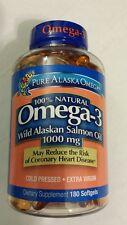 Pure Alaska Omega 3 Wild Alaskan Salmon Oil 1000 mg 180 Softgels Heart Health