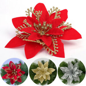 1PC Glitter Poinsettia Hollow Flower Christmas Wreath Tree Xmas Decoration