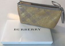 Burberry Gold pouch clutch Makeup Bag Travel Case Patent Sparkle NEW  Box purse