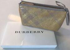 Burberry Gold pouch clutch Makeup Bag Travel Case Patent Sparkle NEW  Box purse
