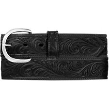 """26"""" Silver Creek Western Scroll Tool Leather Mans Belt Black Made in The USA"""