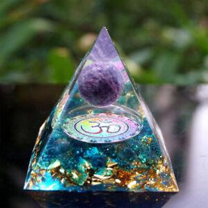 Amethyst Crystal Sphere Orgonite Pyramid Chakra Energy Orgone Ornaments Decor