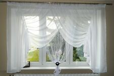 AG17 Rideau prêt à poser en voile Set Beau avec DE FILS panneau blanc fenêtre
