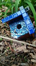 Sparkling blue & black glass and wooden customized birdhouse