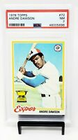1978 Topps HOF Chicago Cubs ANDRE DAWSON Rookie Cup Baseball Card PSA 7 NMINT