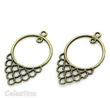 10 Antique Bronze Earrings Connectors Links Chandelier Vintage Ear Wires 40mm