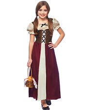 Peasant Girl Childs Renaissance Medieval Burgundy Halloween Costume