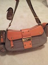 100% AUTH CHRISTIAN DIOR TROTTER PATTERN SHOULDER BAG GREEN CANVAS AND  LEATHER