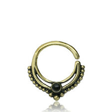 16G BRASS HANGING SEPTUM FAUX BLACK ONYX STONE SMALL 9MM RING DIAMETER NOSE HOOP