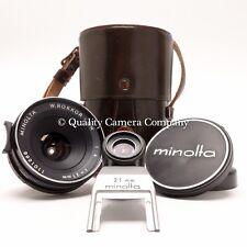 Minolta W.ROKKOR-QH 21mm f/4+Viewfinder+Case - VINTAGE NON-RETROFOCUS LENS - EX+