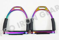 HORSE FLEXIBLE  SAFETY STIRRUPS  RIDING BENDY IRON STEEL (5 INCH)