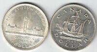 2 X CANADA SILVER DOLLARS KING GEORGE VI .800 SILVER COINS 1939 & 1949