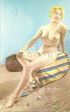 Original Vintage French 50s-60s Pinup Card- Nude- Well Endowed Blond- Long Legs