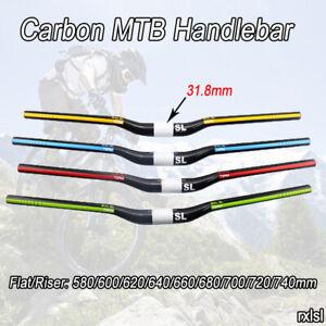 31.8mm Carbon MTB Handlebar Mountain Bike Bicycle Flat/Riser Handle Bar 3K Gloss