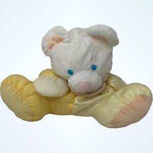 Fisher-Price Puffalump Baby Bear Mouse Yellow White Stripes Plush Rattle 1988
