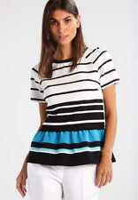 New MICHAEL Michael Kors $88  NWT Striped Knit Peplum Top-Stripped-Ribbed Sz.P/S
