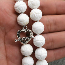 """white Carving coral Tridacna Necklace 18 """" Tibetan silver love clasps 12mm"""