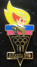 Atlanta 1996 Olympic Games Pin - Black, Pink, Blue, Red & Yellow Torch