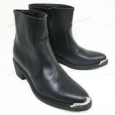 Men's Boots Cowboy Western Black Genuine Leather Side Zipper Ankle Shoes Sizes