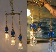 Vintage hanging Swag lamp chandelier tole brass blue Lucite ball & crystal prism