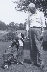 1955 SNAPSHOT PHOTO GRANDPA & GRANDSON WITH PEDAL TOY TRACTOR