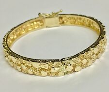 "10Kt Solid Yellow Gold Nugget Hinged Bangle/Bracelet 7"" 6.75 mm 20 grams"