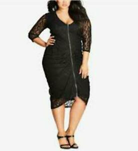 new XL 20 22 CITY CHIC formal lace RUCHED dress STRETCH black FLATTERING SEXY