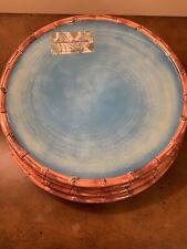 "Set Of 4 Ocean Blue Bamboo Trim Melamine Dinner Plates Tommy Bahama 11"" New"