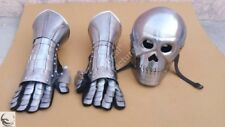 Medieval armor skeleton Skull Helmet with gloves knight Glove W/ crusader helmet