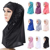 Ramadan Muslim Women Hijab Hats Flower Head Scarf One Piece Islamic Amira Caps