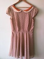 NWT ModCloth Large Tea Skater Dress Cap Sleeves Fit Flare A-Line Floral by Ara