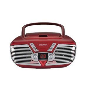 SYLVANIA(R) SRCD211-RED SYLVANIA Retro Portable CD Radio Boombox