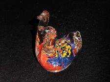 Two Headed Duck Figure Paperweight Clear Glass w/Multi Colors Figurine