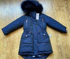 BNWT Ted Baker Coat winter 4 years (3-4) navy gift Girls RRP £75 Faux Fur 104cm