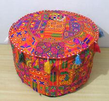"Indian Patchwork Handmade Ottoman Round Pouf Cover Cotton Pouffe Stool Decor 22"""