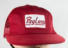 Vintage 1980s Red Wilson PAYLESS Mesh Trucker Snapback Cap Hat