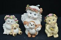 3 Vtg Dreamsicle Figures-1996-All Holding Teddy Bears-Larger Has Blue Ribbon Bow