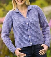 "Ladies Cardigan with Beaded Collar Crochet Pattern Chest 32 - 38""  BR539"