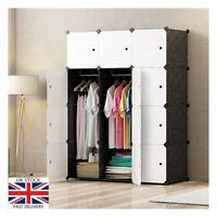 Portable Wardrobe Closet 12 Cube Storage Cupboard Hanging Rod Bedroom Office