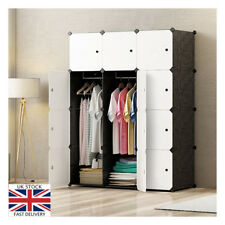 Portable Wardrobe Closet 12 Cube Storage Cupboard Hanging Rod Bedroom Office