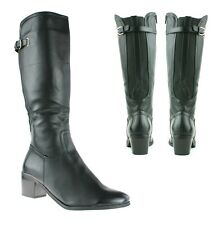 LADIES WOMENS BLOCK HEEL KNEE RIDING BOOTS WIDE LEG FIT STRETCH ELASTIC SHOES